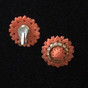 Vintage Faux Coral Crystal Earrings